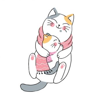 Mãe de inverno bonito dos desenhos animados e gatos do bebê
