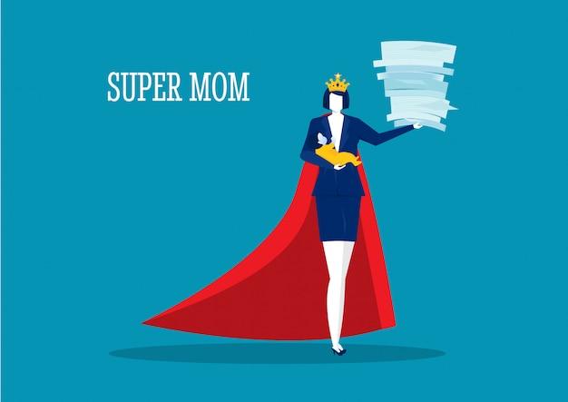Mãe de mulher herói fazendo trabalho de escritório e lição de casa sozinha. super mãe