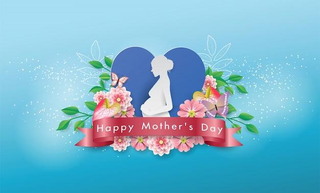 Mãe de papel branco no coração azul banner linda flor flora feliz dia das mães cartão