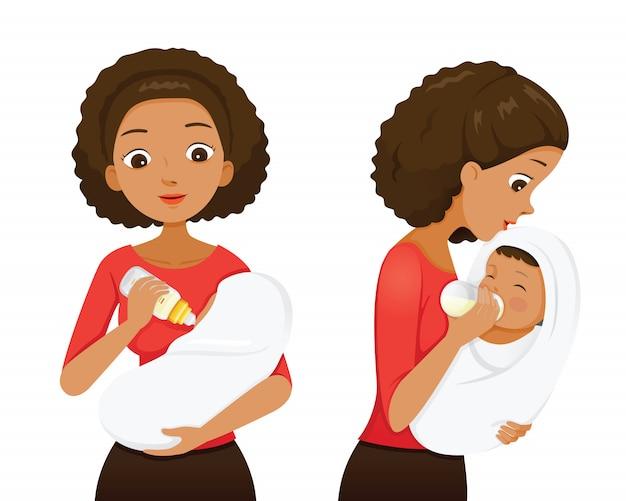 Mãe de pele escura alimentando bebê com leite na mamadeira, vista frontal e lateral
