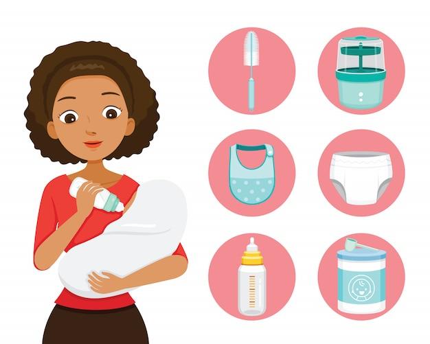 Mãe de pele escura alimentando o bebê com leite na mamadeira. conjunto de ícones de bebê