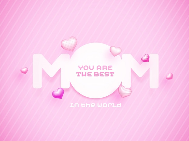 Mãe de texto de papel com corações rosa, feliz dia das mães conceito.