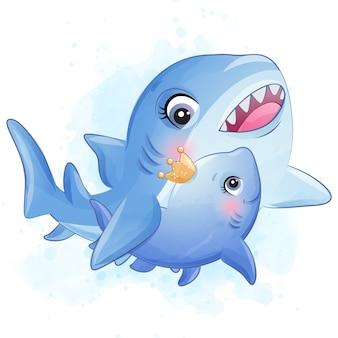 Mãe de tubarão pequeno bonito e ilustração de bebê