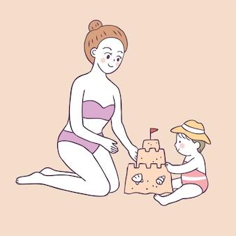 Mãe de verão bonito dos desenhos animados e bebê jogando areia