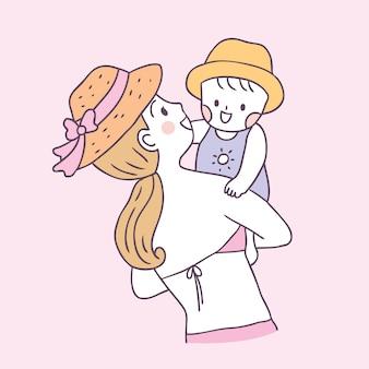 Mãe de verão bonito dos desenhos animados e bebê