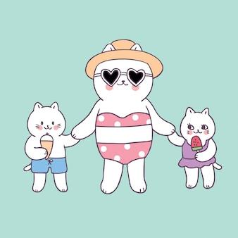 Mãe de verão bonito dos desenhos animados e gatos do bebê