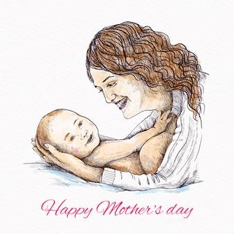 Mãe desenhada de mão segurando seu bebê