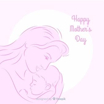 Mãe dia mãe, abraçando, dela, bebê, fundo