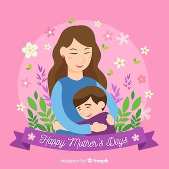 Mãe dia mãe, abraçando, dela, criança, fundo