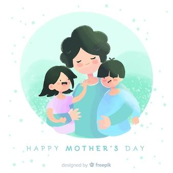 Mãe dia mãe, abraçando, dela, crianças, fundo