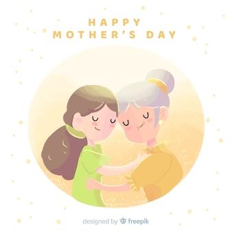 Mãe dia mãe, abraçando, dela, filha, fundo