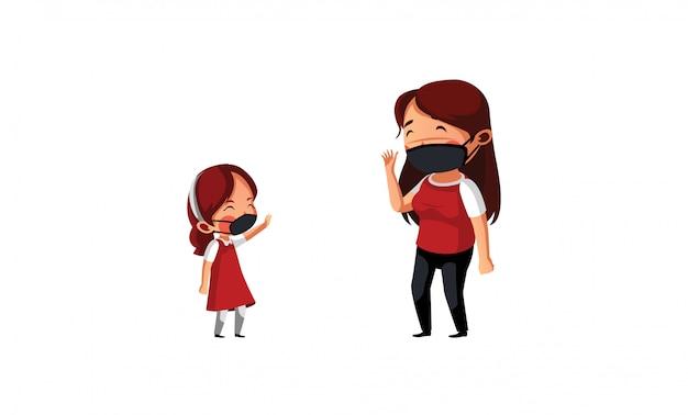 Mãe diz adeus à filha ir à escola