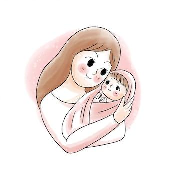 Mãe doce bonito dos desenhos animados, abraçando o bebê