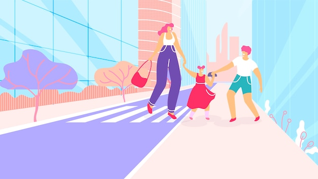 Mãe dos desenhos animados com as crianças a pé na faixa de pedestres
