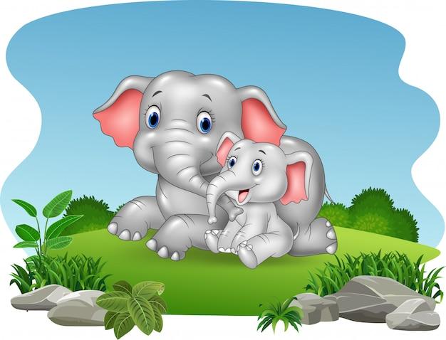 Mãe dos desenhos animados e bebê elefante na selva