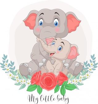 Mãe dos desenhos animados e bebê elefante sentado com fundo de flores