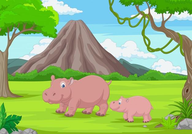 Mãe dos desenhos animados e bebê hipopótamo na selva