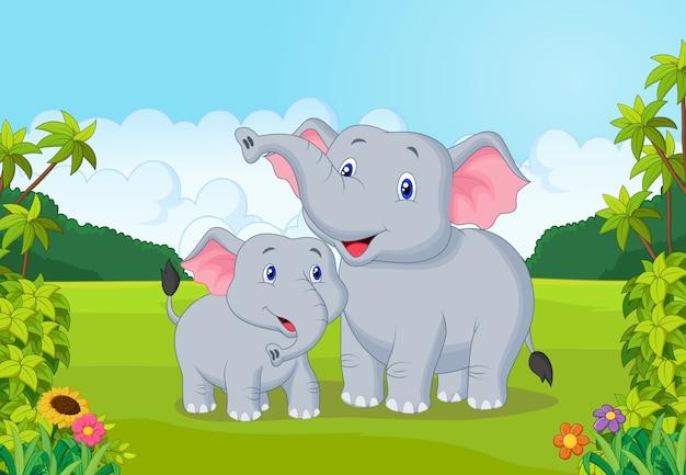 Mãe dos desenhos animados e elefante bebê