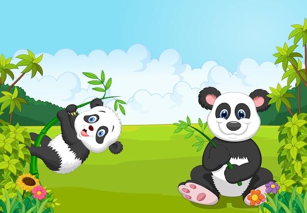 Mãe dos desenhos animados e panda bebê escalando a árvore de bambu
