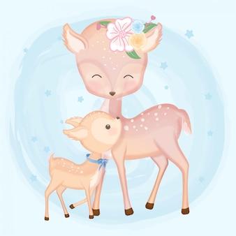 Mãe e bebê cervo mão desenhada animal