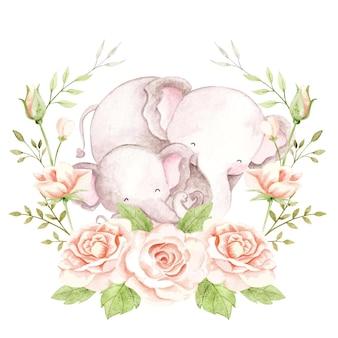 Mãe e bebê elefante em aquarela com guirlanda de rosas
