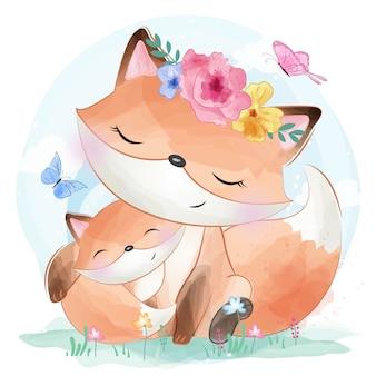 Mãe e bebê foxy pequeno bonito
