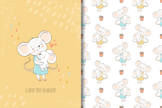 Mãe e bebê mouses bonitos. melhor mãe de todas. ilustração e padrão sem emenda