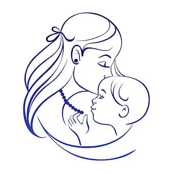 Mãe e bebê. silhueta linear de mãe e filho