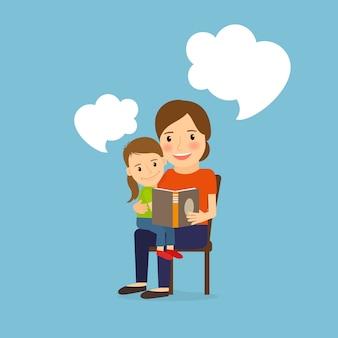 Mãe e criança lendo livro