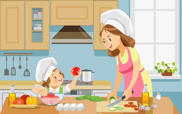Mãe e criança menina juntos a preparar comida saudável em casa.