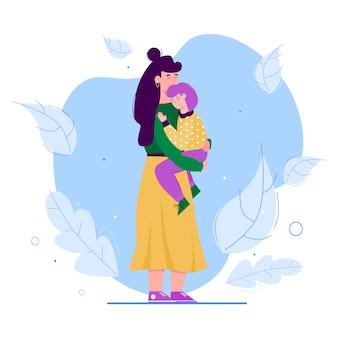 Mãe e filha abraçam - mulher de desenho animado, abraçando e segurando o filho dela