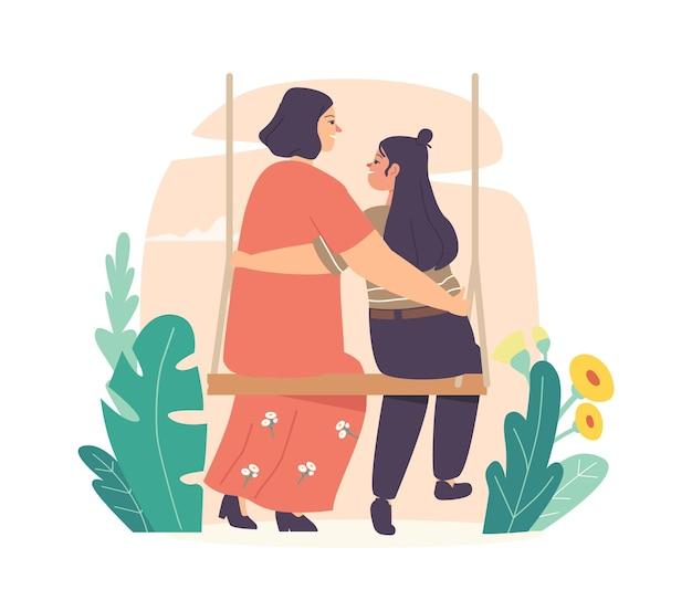 Mãe e filha abraçam sentado no balanço. mãe amorosa e comunicação de personagens filha adolescente, conceito de dia das mães. mãe, abraçando a criança na vista traseira da gangorra. ilustração em vetor desenho animado
