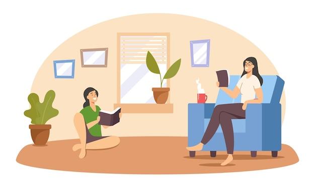 Mãe e filha adolescente lendo livros em casa. personagens da família feliz fim de semana tempo livre, educação ou hobby. lazer relaxado de mulher e menina com literatura. ilustração em vetor desenho animado