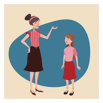 Mãe e filha adorável fundo vintage
