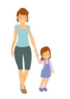 Mãe e filha andando lá fora