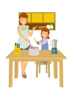 Mãe e filha aprendendo a cozinhar