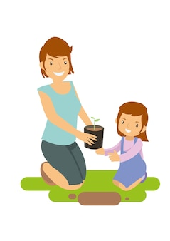 Mãe e filha aprendendo a cultivar plantas