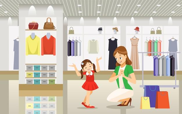 Mãe e filha às compras.