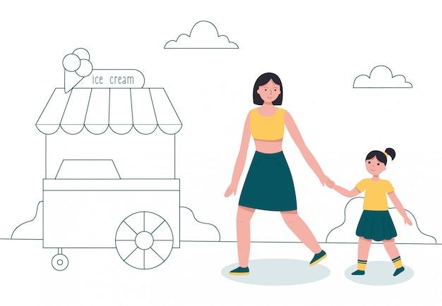 Mãe e filha caminhando no parque perto de carrinho de sorvete.