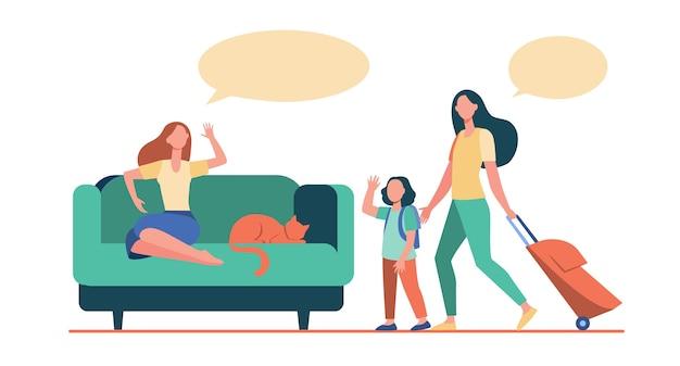 Mãe e filha com bagagem indo de férias. mulher com gato ficar em casa ilustração plana.