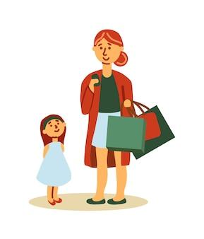 Mãe e filha comprando isoladas no fundo branco