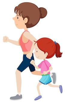 Mãe e filha correndo