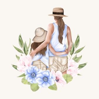Mãe e filha de volta em vestidos azuis e chapéus com flores de anêmona folhas verdes dia das mães