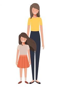 Mãe e filha em pé personagem de avatar