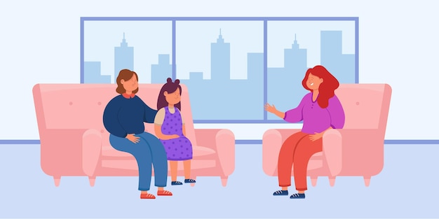 Mãe e filha em reunião com psicólogo