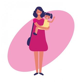 Mãe e filha empregos e profissão mão desenhar