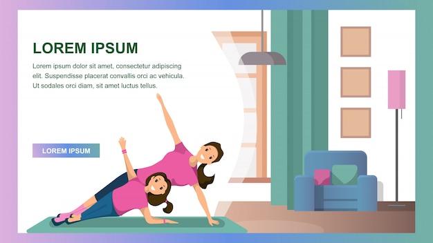 Mãe e filha engajados fitness home interior
