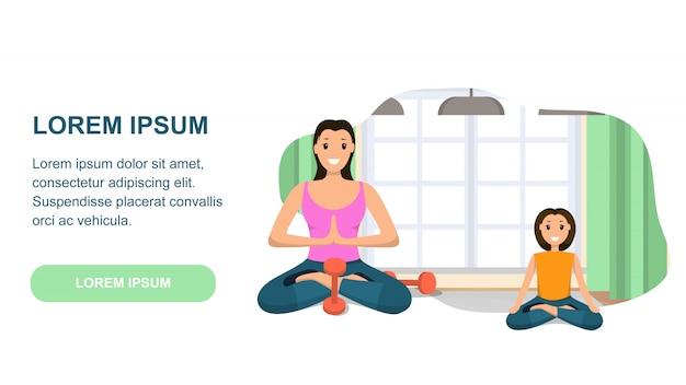 Mãe e filha envolvida esporte envolvido no yoga