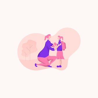 Mãe e filha estão conversando. ilustração vetorial plana