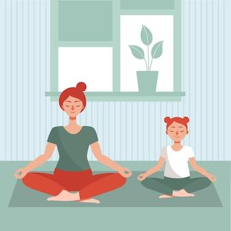 Mãe e filha fazem ioga em casa